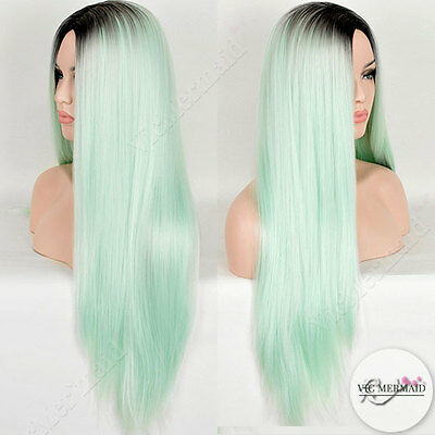 Fashion Gradient Mint Long Straight Wigs Kylie Cosplay Party Costume Fancy Dress