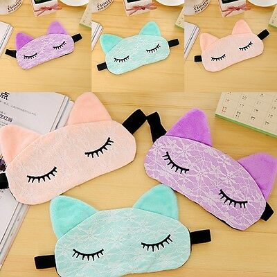 Cute Microfiber Eye Mask Padded Rest Travel Sleeping Blindfold Shade Light Cover