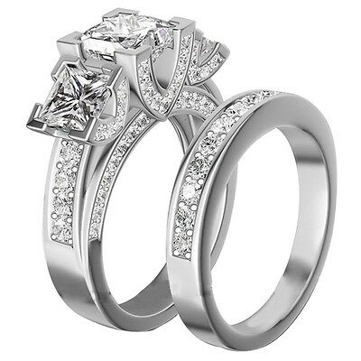 Size 4-12 Rhodium Plated 10KT Princess Cut Wedding Engagement Ring Anniversary