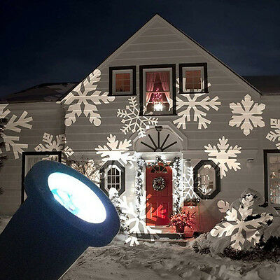 LED Snowflake Landscape Laser Projector Lamp Light Xmas Party Outdoor Decoration