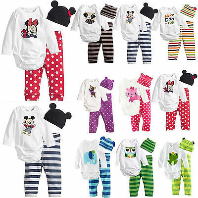 Baby Boys Girls Clothes Long Sleeve Bodysuit Romper+Pants+Hat 3pcs Outfits Set