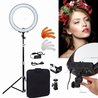 """Dimmable Diva LED Ring Light 14"""" 5500K With Diffuser Light Stand For Video Photo"""