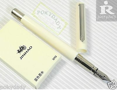 Pirre Paul's F 101 Fountain Pen WHITE F nib + 5 JINHAO cartridges BLUE ink