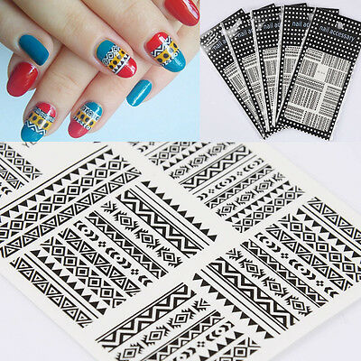 5sheets Black Tribal Geo Pattern Nail Art Transfer Water Decals Stickers DIY
