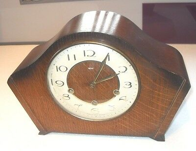 Quality Art Deco Vintage Smiths 8 Day Striking Westminster Chimes Mantel Clock