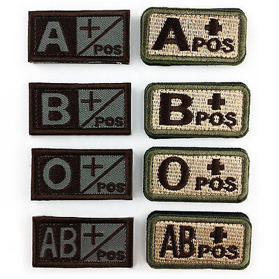1× Military Blood Type A B O AB POS Embroidered Hook Patch Tactics Armband Badge