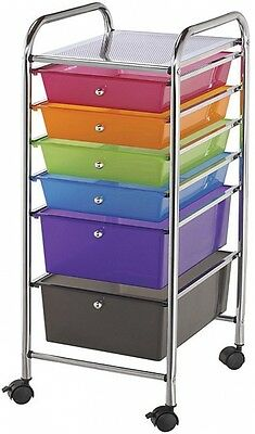 Multicolor Six-drawer Rolling Storage Scrapbooking And Craft Cart