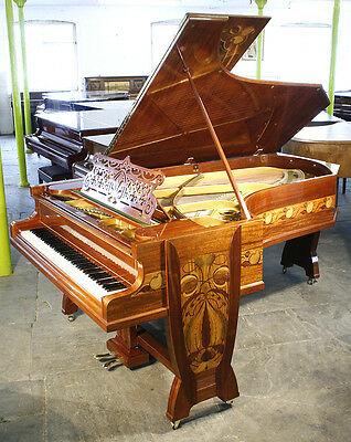 Unique, Art Nouveau, Bechstein model C grand piano with an inlaid, mahogany case