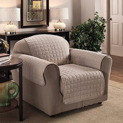 Furniture Protector Pets Slipcover 1-Seat Quilted Sofa Couch Cover Lightgray