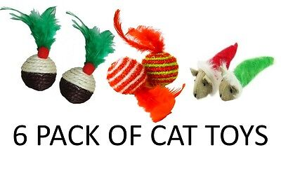 Festive Fun 6 Pack Quality Christmas Cat Kitten Toys Catnip Pudding Feathers