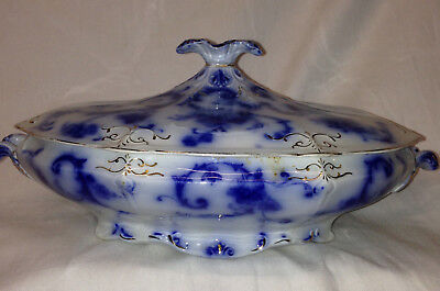 "Ridgways England Gainsborough Oval Covered Serving Bowl 10 3/4"" Flow Blue Gold"