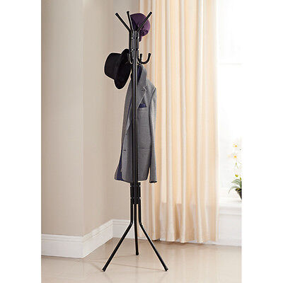 Stylish Free Standing 8 Hooks Hat Coat Clothing Organiser Stand Office or Home