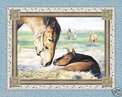HORSE FABRIC PANEL NATURES'S GIFT quilt top wallhanging horse fabric NEW