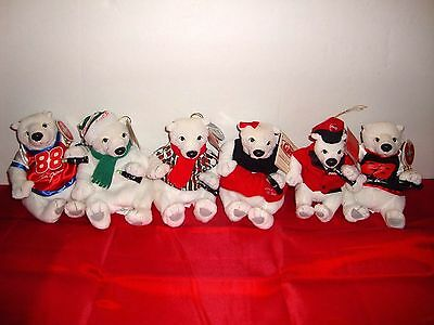 Lot Of 6 Coca Cola Different Plush Polar Bears Holding Coke Bottle With Tags