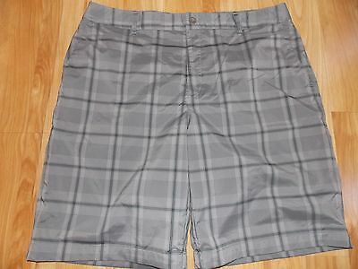 Under Armour 38 Plaid Gray Golf Flat Front Shorts