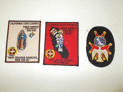 Knights Of Columbus Set Of 3 Patches,1 4Th Degree, 2 California State Council