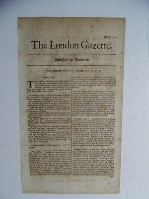 1715 The London Gazette Newspaper Great Northern War Ottoman Venetian War ORIG.