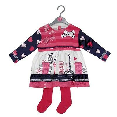 Baby Girls Jersey Dress & Tights Outfit (6-12 Months)