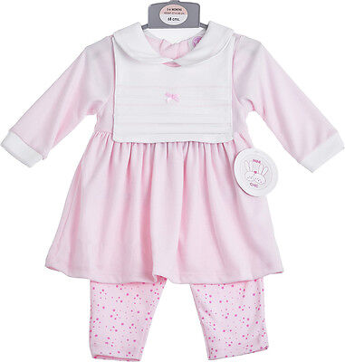 Baby Girls Pink Three Piece Dress & Leggings Set 0-6 Months