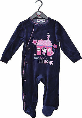 Baby Girls Velour Sleepsuit - My Sweet Little Home  (0-3 Months)