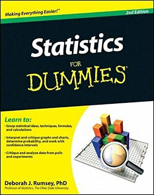 Statistics For Dummies, 2E by Rumsey, PhD Deborah J. Paperback Book The Cheap