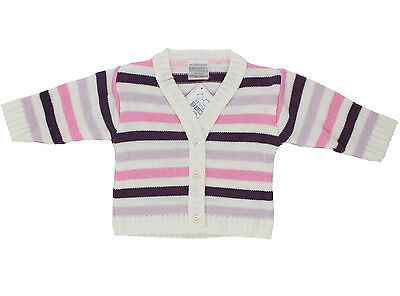 Baby Girls Knitted Striped Cardigan Newborn - 6 Months
