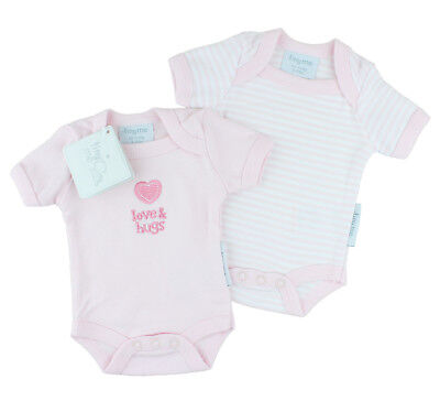 Premature Baby Girls 2 Pack Bodyvest Set - Love & Hugs 3-5lbs or 5-8lbs