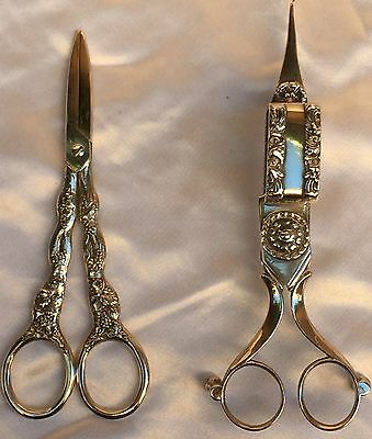 Magnificent French Christofle Sp Grape Scissor And Candle Snuffer