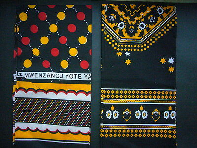 African Kanga Khanga Sarong Pareo Throw Wrap Black Yellow Red - Beachwear Home