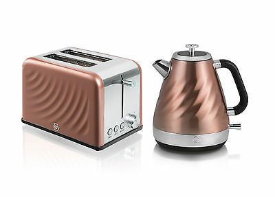 Swan Twist Kettle and Toaster Set  SK37010TWN / ST19010TWN - Copper