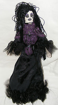 Individual Ooak Hand Made Gothic Fabric Rag Doll Lace Satin Jewellery Halloween