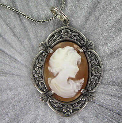 Vintage Shell Cameo Pendant, Necklace