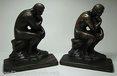 Antique Art Deco Cast Iron 'The Thinker' Figural Bookends copper wash ornate
