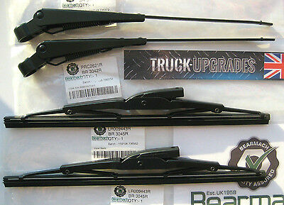 Land Rover Series 2a, 3, Wiper Blade Set COMPLETE WITH ARMS - BEARMACH