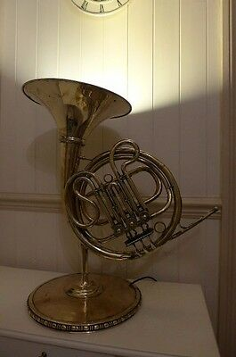 Antique Solid Brass Lamp Made From French Horn made by AMATI Handmade Unique Art