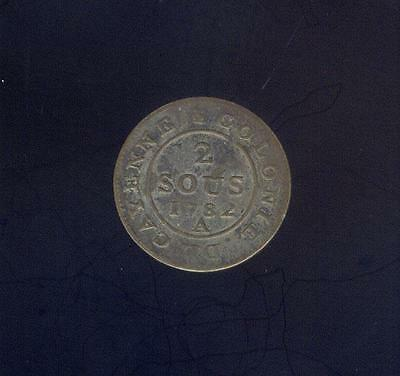 French Guinea, Silvered 2 Sous 1782 - Birmingham, Ex: Mendel Peterson Coll.