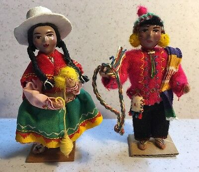 """Vintage Peruvian Pair of Dolls Female and a Male. Very Detailed  4 1/4"""" Tall"""