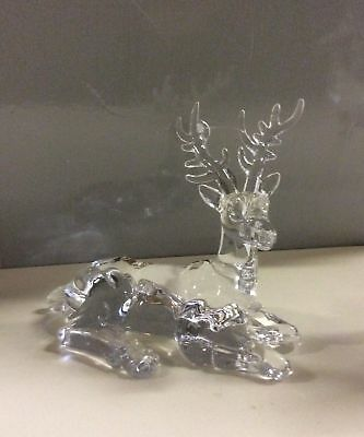 New 15cm Acrylic Sitting Reindeer Christmas Decoration / Figure OFFER!