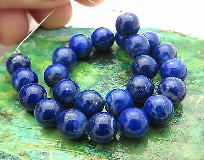 24 BEAUTIFUL ROYAL BLUE & GOLD SPECKLING LAPIS ROUND 6-6.2mm BEADS 43cts