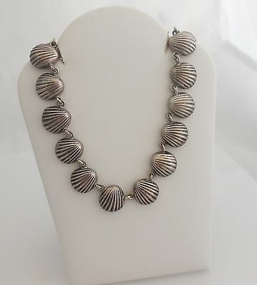 Heavy Vintage Sterling Silver Clam Shell Necklace - Taxco 16""