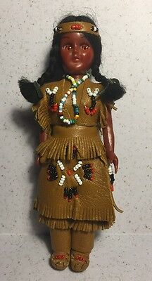 Vintage Carlson Native American Doll w/ Papoose Leather Clothes  EC