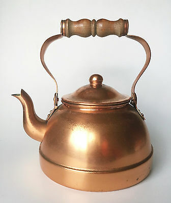 Tagus Portugal Vintage Copper Kettle With Lid & Wooden Handle