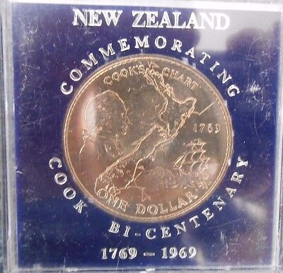1969 New Zealand Captain Cook  $1 Dollar Uncirculated Coin In Perspex Case
