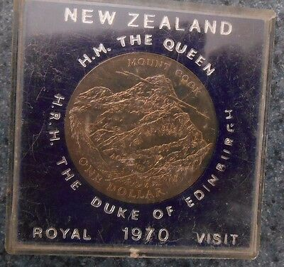 1970 New Zealand Royal Visit  $1 Dollar Uncirculated Coin In Perspex Case