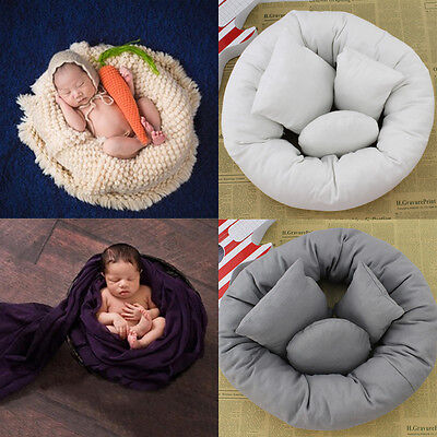 4Pcs/Set Baby Newborn Pillow Basket Filler Wheat Donut Photography Props SW