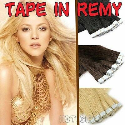 40pcs 100g Tape in 100% Real Remy Human Hair Extensions Virgin Skin Weft HQ555