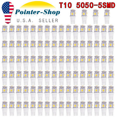 100x Pure White T10 Wedge 5-SMD LED Dome Map Light bulbs 5050 W5W 2825 158 192