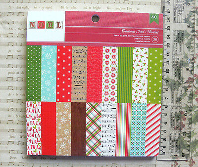 "CHRISTMAS ""NOEL"" - 18 Designs 2 of Each Single Sided Heavy Cardstock 6x6Pk AC"