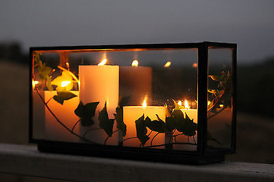 Glass Candle Box Lantern Table Centrepiece Industrial Beautiful Quality