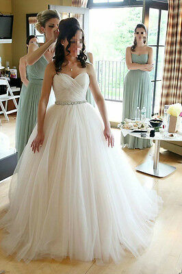 Princess Strapless Tulle White/Ivory Bridal Gown Wedding Dress Custom Size 6-18+